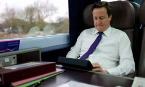 David Cameron on his iPad
